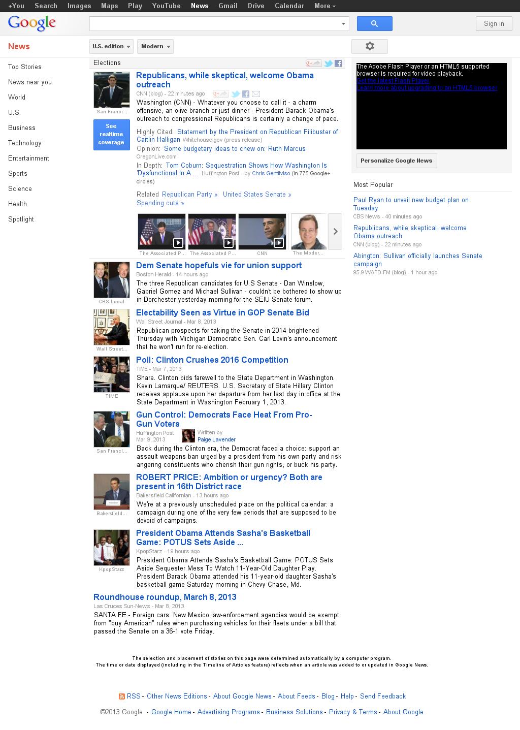 Google News: Elections at Sunday March 10, 2013, 7:07 p.m. UTC