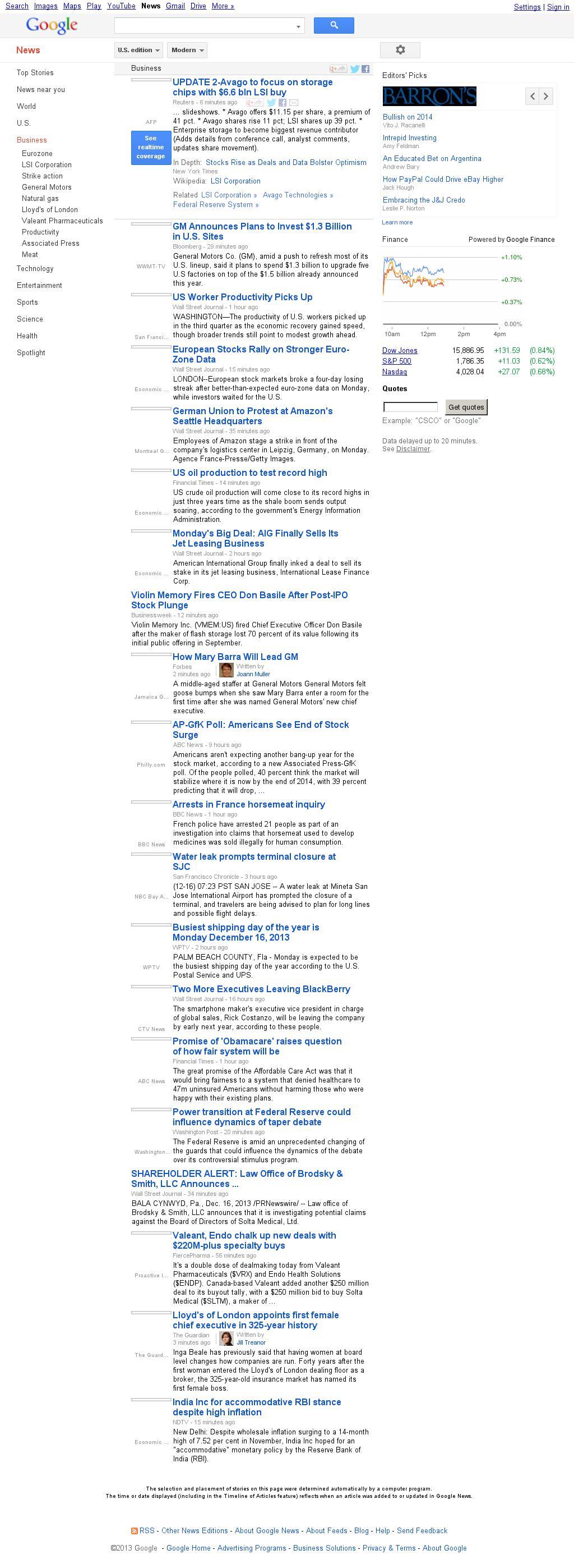 Google News: Business at Monday Dec. 16, 2013, 6:05 p.m. UTC