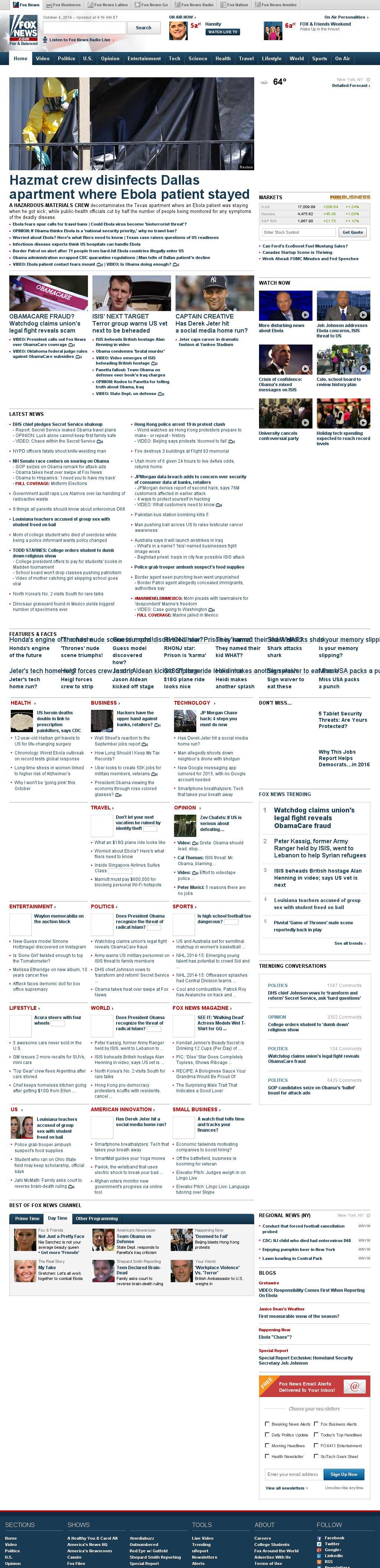 Fox News at Saturday Oct. 4, 2014, 9:05 a.m. UTC