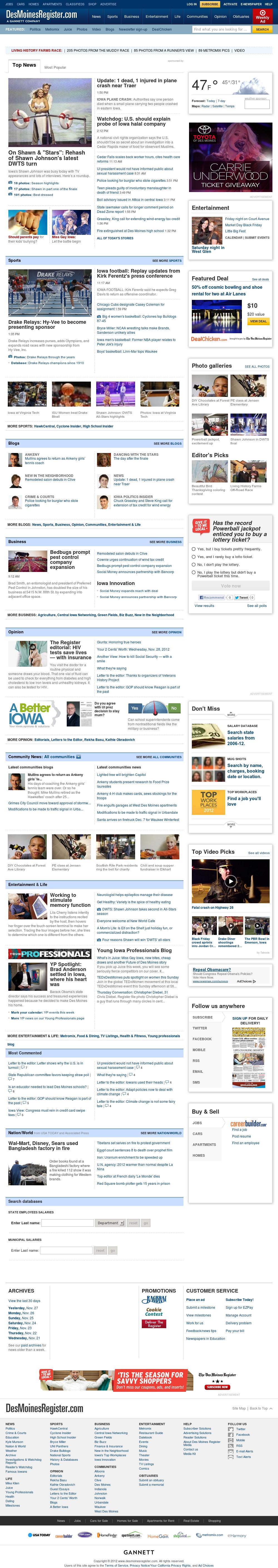 DesMoinesRegister.com at Wednesday Nov. 28, 2012, 10:07 p.m. UTC
