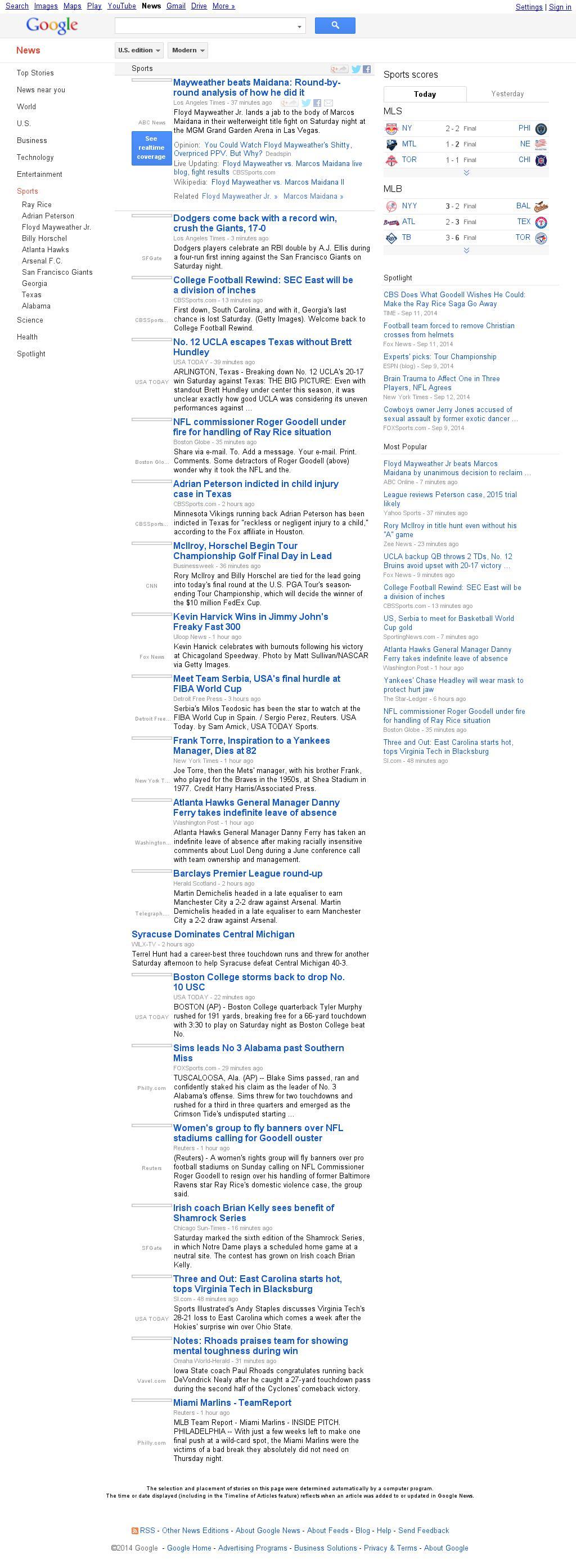 Google News: Sports at Sunday Sept. 14, 2014, 5:07 a.m. UTC
