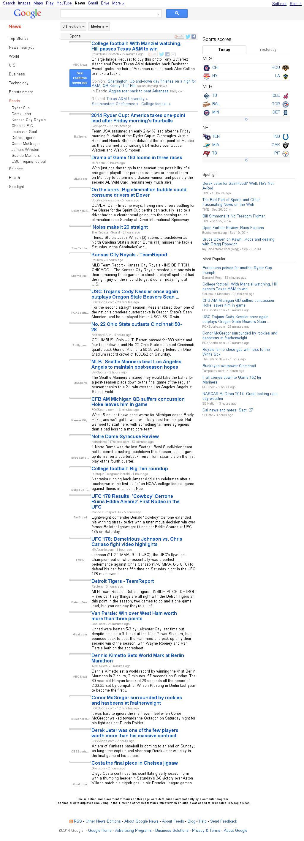 Google News: Sports at Sunday Sept. 28, 2014, 10:06 a.m. UTC